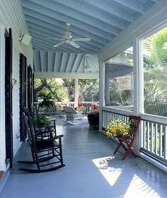 Southern State of Mind: {Southern Tradition} How to Add Haint Blue Porch Ceiling Detail Haint Blue Porch Ceiling, White Ceiling, Outdoor Spaces, Outdoor Living, Outdoor Ideas, Southern Porches, Southern Homes, Southern Charm, Blue Ceilings