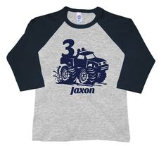 This monster truck birthday comes on a sleeve American Apparel shirt. The text and number can be left off if you want, just let us know! Monster Truck Birthday, Monster Trucks, Monster Jam, 3rd Birthday Parties, Boy Birthday, Birthday Ideas, Third Birthday, Raglan Shirts, Birthday Shirts