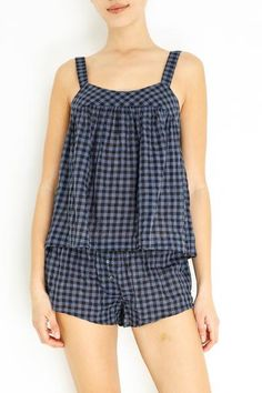 Tencel, Cotton, PU Color: Navy Top has adjustable straps Bottoms have elastic waist Semi- sheer Model is and wears a size Small Cute Lazy Outfits, Crop Top Outfits, Suit Fashion, Fashion Dresses, Girls Night Dress, Frock For Women, Mode Top, Neutral Outfit, Korean Outfits