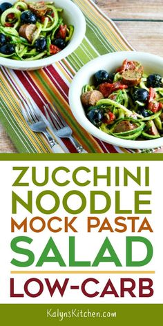 This Zucchini Noodle Mock Pasta Salad is low-carb, low-glycemic, and gluten-free and this salad is so tasty. The zucchini noodle salad has all my favo… - Site Best Zucchini Recipes, Best Salad Recipes, Best Gluten Free Recipes, Gourmet Recipes, Low Carb Recipes, Cooking Recipes, Healthy Recipes, Sausage Recipes, Turkey Recipes
