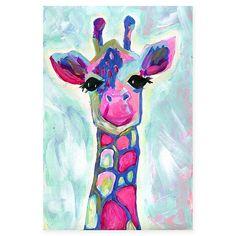 Giraffe Painting, Colorful Blue Giraffe, Magenta Green Blue Giraffe Canvas Print by Jill Lambert of Jill's Dream Artwork - MEDIU Giraffe Painting, Giraffe Art, Acrylic Painting Canvas, Canvas Artwork, Painting Prints, Canvas Prints, Art Prints, Canvas Paintings For Kids, Painting Art