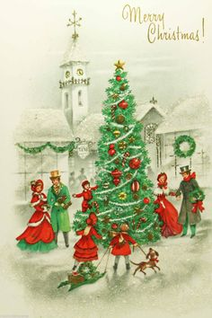 Oh Christmas Tree🎄 Christmas Card Images, Beautiful Christmas Cards, Vintage Christmas Images, Old Fashioned Christmas, Christmas Scenes, Christmas Past, Victorian Christmas, Retro Christmas, Vintage Holiday