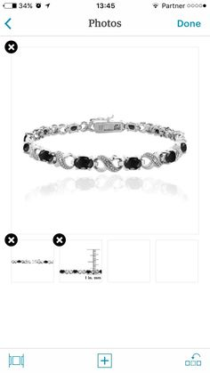 Black Sapphire & Diamond Accent Infinity Bracelet silver and black beaded bracelet silver and black beaded bracelet This attractive bracelet represents your everlasting relationship with the infinity links it showcases. The infinity design is separated by oval sapphire stones. One genuine diamond is pave set in the midst of dotted pave detailing's; simulating shimmering stones. The bracelet is secured by a box tongue with a safety latch. The total gem weight is 7.2ct and the total diamond…