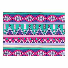 KESS InHouse Sarah Oelerich 'Teal Tribal' Pink Purple Dog Place Mat, 13' x 18' *** Quickly view this special dog product, click the image : Dog food container