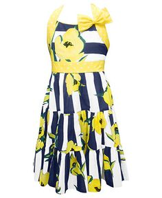 Jayne Copeland Girls Dress, Girls Floral Striped Dress - Kids Girls 7-16 - Macy's