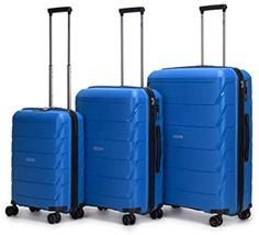 Premium 3 Piece Hardcase Luggage Set, TSA-Approved Lock, 100% Polycarbonate Ultra-Durable Water-Resistant Suitcases with 360° Spinner Wheels and 3-Year Global Warranty (True Blue) 3 Piece Luggage Set, Luggage Sets, Shopping World, Online Shopping Stores, Hard Sided Luggage, Hard Suitcase, Best Luggage, Luggage Store, Travel Light