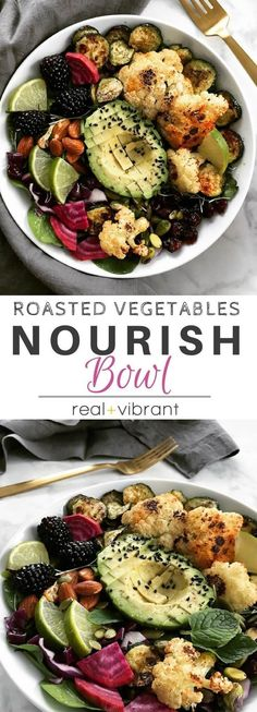 Roasted Cauliflower Nourish Bowl - A delicious and quick meal packed with roasted veggies, avocado, and healthy nourishing fats. Always a crowd pleaser! | www.realandvibrant.com