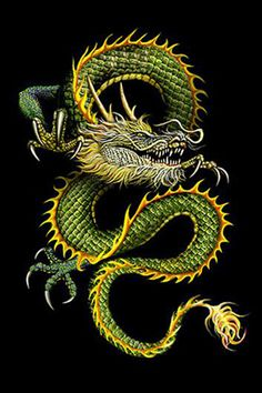 A tall snake like Chinese dragon, a dazzling jade green with pale blue eyes and a long black mane . (DRAGONS)