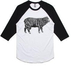 theIndie Wooly Black Ram (Black) 3/4-Sleeve Raglan Baseball T-Shirt