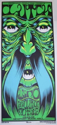 Original silkscreen concert poster for Clutch at Newport Music Hall in Columbus, Ohio in 2009. 12 x 26 inches. Signed and numbered out of 200 by the artist Mike Martin