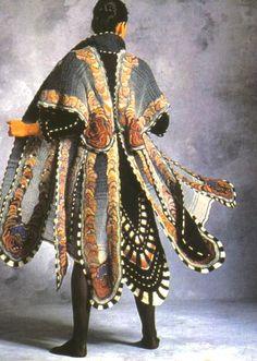 Coat by Sharron Hedges, 1983. #freeform #crochet