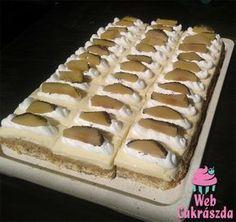 Sütemény az országtorta mintájára szeletben Hungarian Recipes, Nutella, Waffles, Fondant, Deserts, Food And Drink, Birthday Cake, Cookies, Breakfast