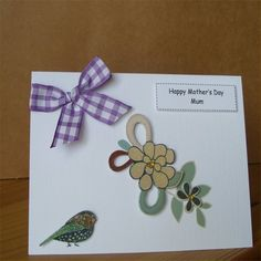 Purple Check Mother's Day Card - Mum by Aunty Joan Crafts