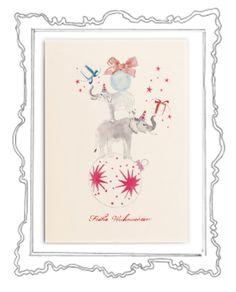 The Christmas Elephants Was gibt es Schöneres als in der glitzernden Weihnachtszeit liebe Menschen mit herzlichen Zeilen zu überraschen und etwas Weihnachtszauber zu verschicken. Das Weihnachtskarten schreiben ist eine zauberhafte Tradition, die zu Weihnachten – dem Fest der Liebe und Familie – einfach dazugehört.  Die elegante Klappkarte, in einem zarten Cremeweiß, hat das Format 118 x 168 mm (200g) und der Umschlag 125 x 176 mm (120g)