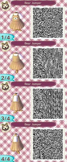 Les qr codes robes : - Animal Crossing New Leaf Qr Code Animal Crossing, Animal Crossing Qr Codes Clothes, Animal Games, My Animal, Motif Acnl, Ac New Leaf, Motifs Animal, Happy Home Designer, A Silent Voice