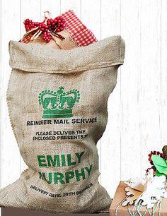 ❤ PERSONALISED Original Hessian Christmas Santa sack Green Crown❤