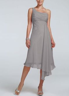Timeless,elegant and chic, this short crinkle chiffon dress will be your bridesmaids new go to staple dress long after the wedding reception!  One shouldernecklinefeaturesultra-feminineruched bust.  Softtwist cascade bodice and asymmetrical hemlinegives this dress a whimsical feel.  Fully lined. Back zip. Imported polyester.  To protect your dress, try our Non Woven Garment Bag.