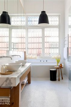 Black and white bathroom with the most incredible windows. A light and airy bathroom in a Victorian home interior by Beatrix Rowe Interior Design. Photo by Shannon McGrath. Terraced House, Bathroom Interior, Home Interior, Interior Decorating, Bathroom Windows, Modern Bathroom, Bathroom Black, Small Bathroom, Glass Bathroom