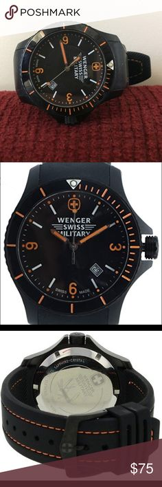 """Wenger Swiss Army """"Sport Battalion"""" Watch 79031 43mm Case Size 22mm Strap Size 100 meters Water Resitant Swiss Quartz Movement Unidirectional Rotating Bezel - needs new watch battery Wenger Accessories Watches"""