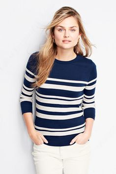 Women's 3/4-sleeve Supima Texture Stripe Crew Sweater from Lands' End