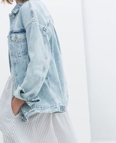 My bleached out denim jacket is more fitted, but still ♡ with a full skirt (white & gold sundress maybe...no tshirt under it tho...too 90s for me)