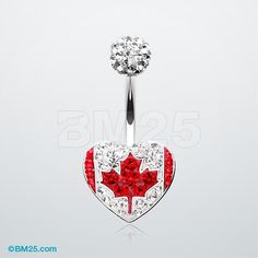 Canada Flag Heart Multi-Gem Sparkle Belly Button Ring