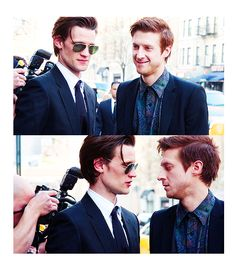 """Matt Smith & Arthur Darvill I love Rory and Amy, but what a great almost slash picture for Rory/Doctor. Lol. """"No we can't. Amy will return soon"""" """"I don't care""""."""