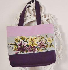 Sac shopping en canevas fleuri