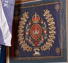 The regimental colours of the Queen's Own Cameron Highlanders.