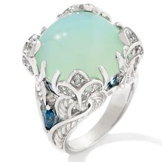 Victoria Wieck 1.07ct Seafoam Chalcedony and Topaz Ring