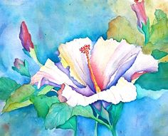 http://www.etsy.com/treasury/NTM5ODkzNXwyNzIwNzQ0ODM5/ill-be-blue-for-youFloral Watercolor Print: White 'Hibiscus'  blue, pink, green, yellow.. $35.00, via Etsy.
