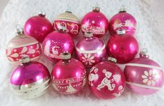 """12 Vintage SHINY BRITE Mica Stencil Mixed Christmas Ornaments-PINK-2.75"""" #1"""