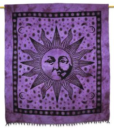 Beautiful Indian Screen Printed Cotton Sun Print Tapestry or Bed Cover in Twin size. ..this is img