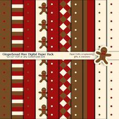 Gingerbread Man Digital Crafts Paper Printable by ArtistaQ8 #gingerbreadman #kids #holiday #season #redcraftspaper #digitalpapers #paper goods #scrapbooking #printable #premade #customize #editable #graphic #diy #cookie #cream #brown Printable Scrapbook Paper, Printable Paper, Red Crafts, Christmas Kitchen, Christmas Gingerbread, Paper Goods, Planners, Cookie, Photoshop