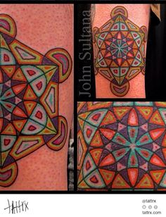 John Sultana Tattoos - Colorful Metatrons Cube