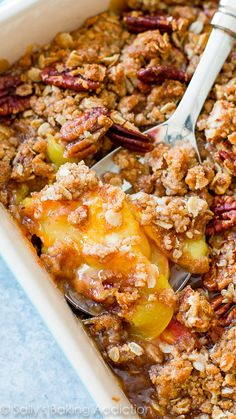 Sweet Peach Pecan Crisp on sallysbakingaddiction.com -- click through for the simple recipe!