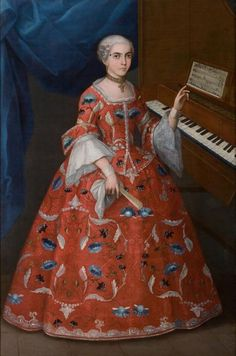 """Young Woman w/ a Harpsichord"" Mexico, early 18th @DenverArtMuseum"