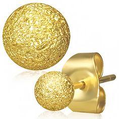 GOLD SANDBLASTED BALL SURGICAL STEEL EARRINGS
