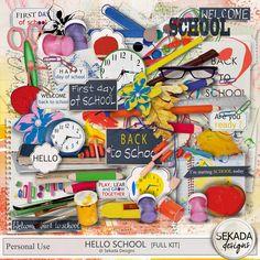 Hello School Full Kit, a digital scrapbooking kit from MyMemories Digital… School Ot, First Day School, School Play, Welcome Back To School, Children And Family, Soft Colors, Word Art, Digital Scrapbooking, Digital Art