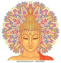 Buddha head over ornate mandala round pattern. Vector illustration. Vintage decorative composition. Indian, Buddhism, Spiritual motifs. Tattoo, yoga, spirituality.  Vintage decorative composition.