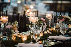 Black Tie-Meets-Rustic North Carolina Wedding at the Old Edwards Inn, Moss-Covered Tables with Low Floral Centerpieces