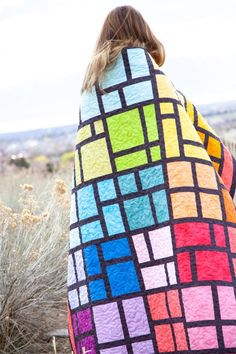 Shades – Modern Stained Glass Quilt + Tutorial! – Riley Blake Designs Big Block Quilts, Cute Quilts, Lap Quilts, Quilt Blocks, Scrappy Quilts, Mini Quilts, Modern Stained Glass, Stained Glass Quilt, Patchwork Quilt Patterns