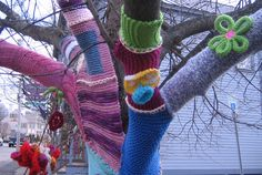 What strange flowers these be! Yarn Bombing in Exeter, NH. April Fool's Day 2013 thanks to Womenade of Great Squamscott.