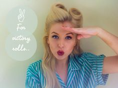 Victory Roll tutorials:: Step By Step How To Victory Rolls:: Vintage Hairstyles:: Retro Hair:: Vintage Hair