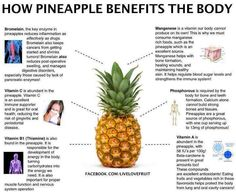 Health Benefits of Fresh Pineapple Bromelain should be your new best friend! No canned! Pineapple Diet, Pineapple Health Benefits, Fruit Benefits, Pineapple Nutrition Facts, Pineapple Recipes, Tomato Nutrition, Health And Nutrition, Health And Wellness, Health Care