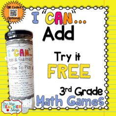 Are you in need of a FUN way to prepare your students for classroom math assessments, and standardized tests?  These I CAN Math games make preparing for any kind of Math test EXCITING!  This FREE I CAN game reinforces the 3rd grade Common Core Math Standards focusing on Adding through 1,000.If you like this, check out my   I CAN math game BUNDLE!!! {CLICK HERE}What is an I CAN game?It is literally a can that contains a variety of test like questions.