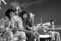 The band 'Sly and the Family Stone' at rehearsal for a television appearance October 15 1969 from left Sly Stone Gregg Errico Larry Graham Jery...