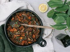 Buttered Balsamic Lentils Recipe - Try this delicious lentils recipe with portobello mushrooms from Petite Kitchen