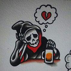Tge dead is drowning its sorrow in beer tattoo idea. Tattoo Sketches, Tattoo Drawings, Body Art Tattoos, Art Sketches, Sleeve Tattoos, Cool Tattoos, Tatouage Goth, Desenhos Old School, Dessin Old School