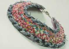 colourful fabric Braided neck ornament , recycled jeans. $70.00, via Etsy.